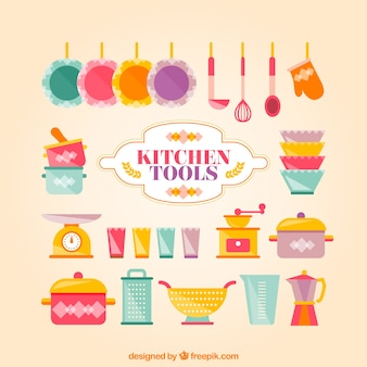 Colored kitchen tools