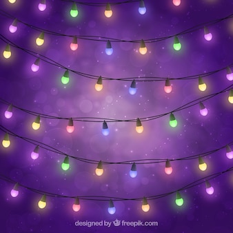 Colored lights on purple background