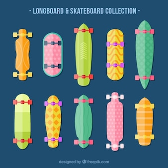 Colored longboard collection in flat design