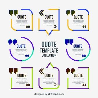 Colored minimalist quote frames