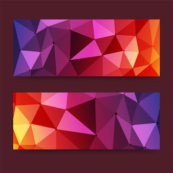 Colored modern pixel banners or headers set with triangles, low-poly concept. Vector banners ready for your text or design.