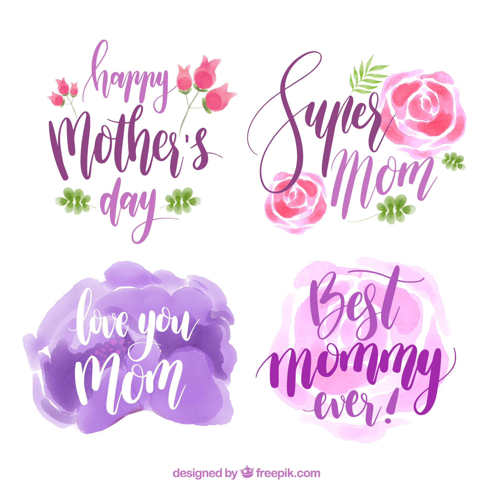 Colored mother's day labels in watercolor style