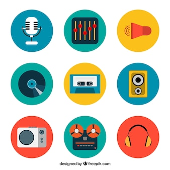 Colored music icons collection