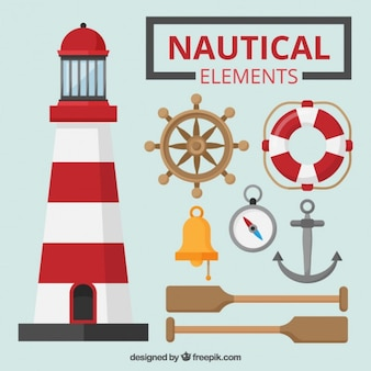 Colored nautical elements set