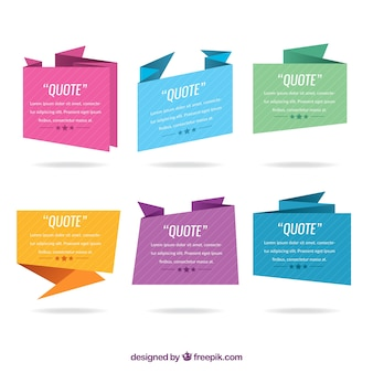 Colored origami collection for quote
