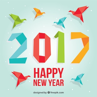 Colored origami new year background
