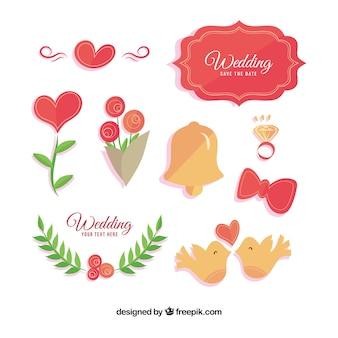 装飾的な結婚式のアイテムの色のパック