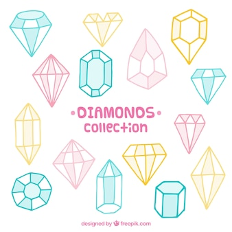 Colored pack of hand-drawn precious gems