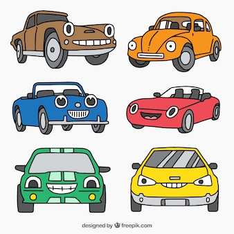 Colored pack of six cartoon vehicles