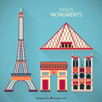 Colored Paris monuments