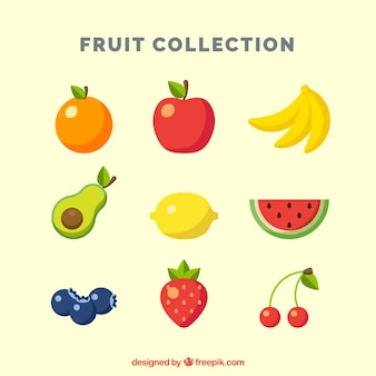 Colored pieces of fruit in flat design