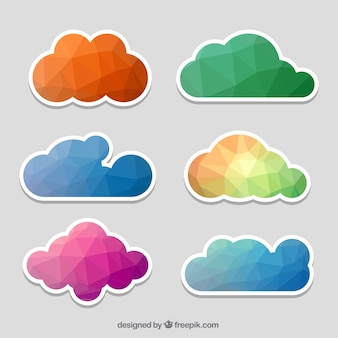 Colored polygonal clouds stickers set