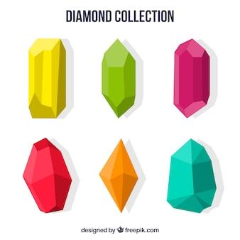 Colored precious stones in flat design