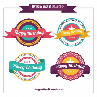 Colored pretty happy birthday badges