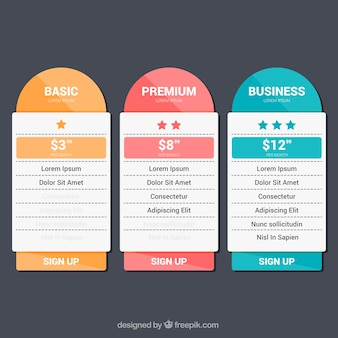 Colored price banners in flat design
