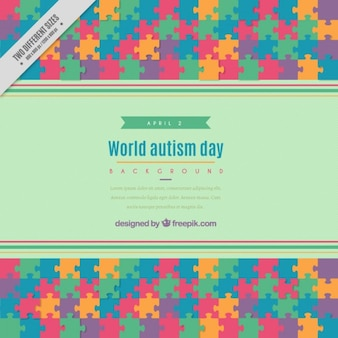 Colored puzzle autism day background