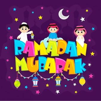Colored ramadan mubarak background with cute boys