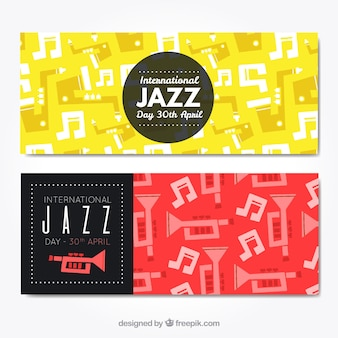 Colored retro jazz banners