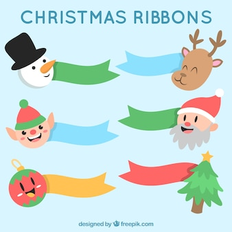 Colored ribbons with lovely christmas characters