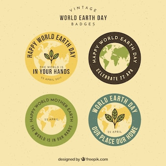 Colored round badges in vintage style for mother earth day