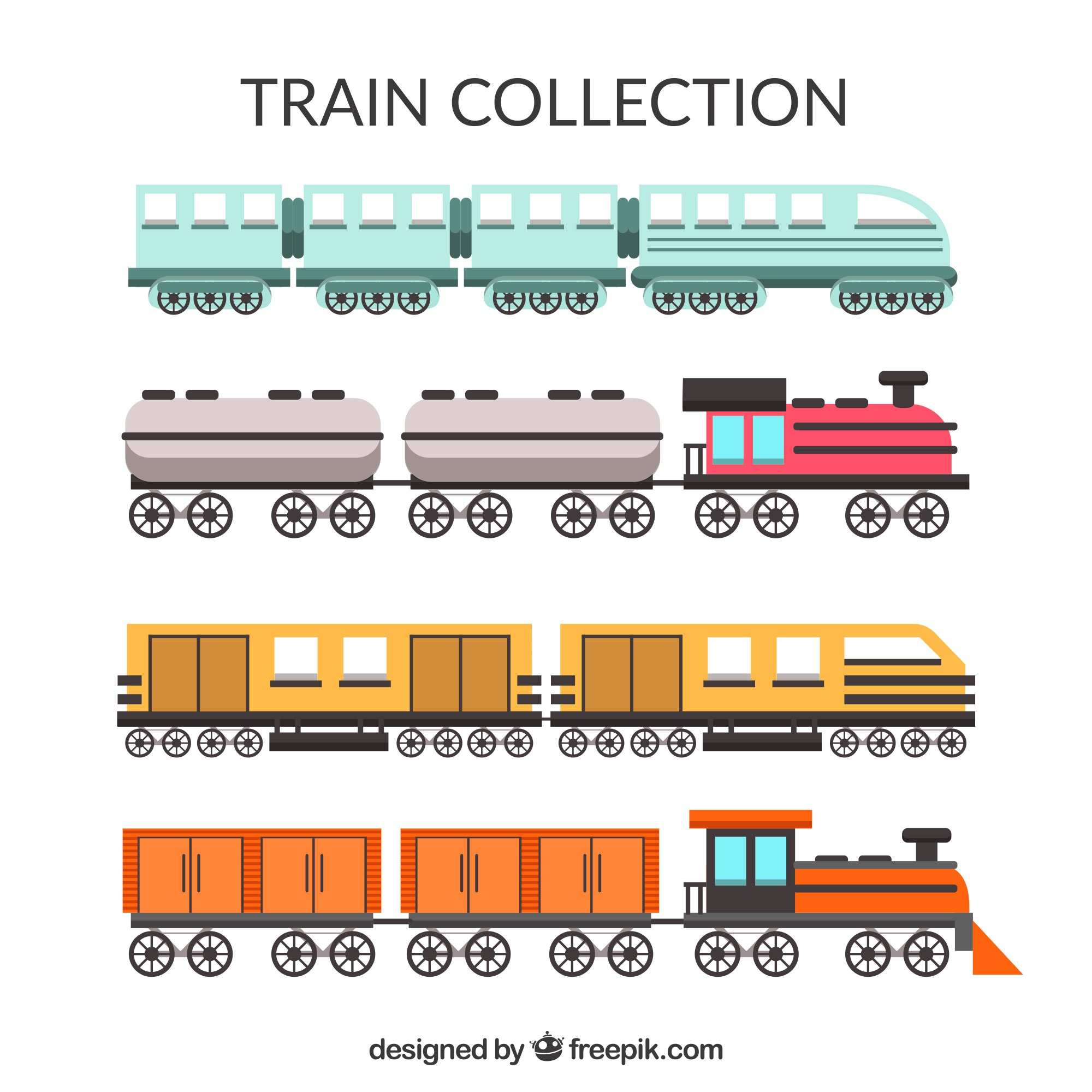 Colored selection of flat trains