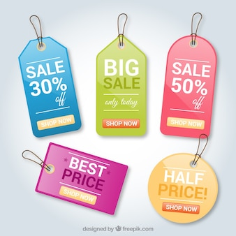 Colored shopping tags