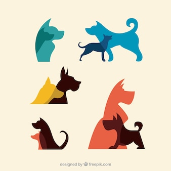 Colored silhouettes of dogs