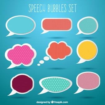 Colored speech bubble labels