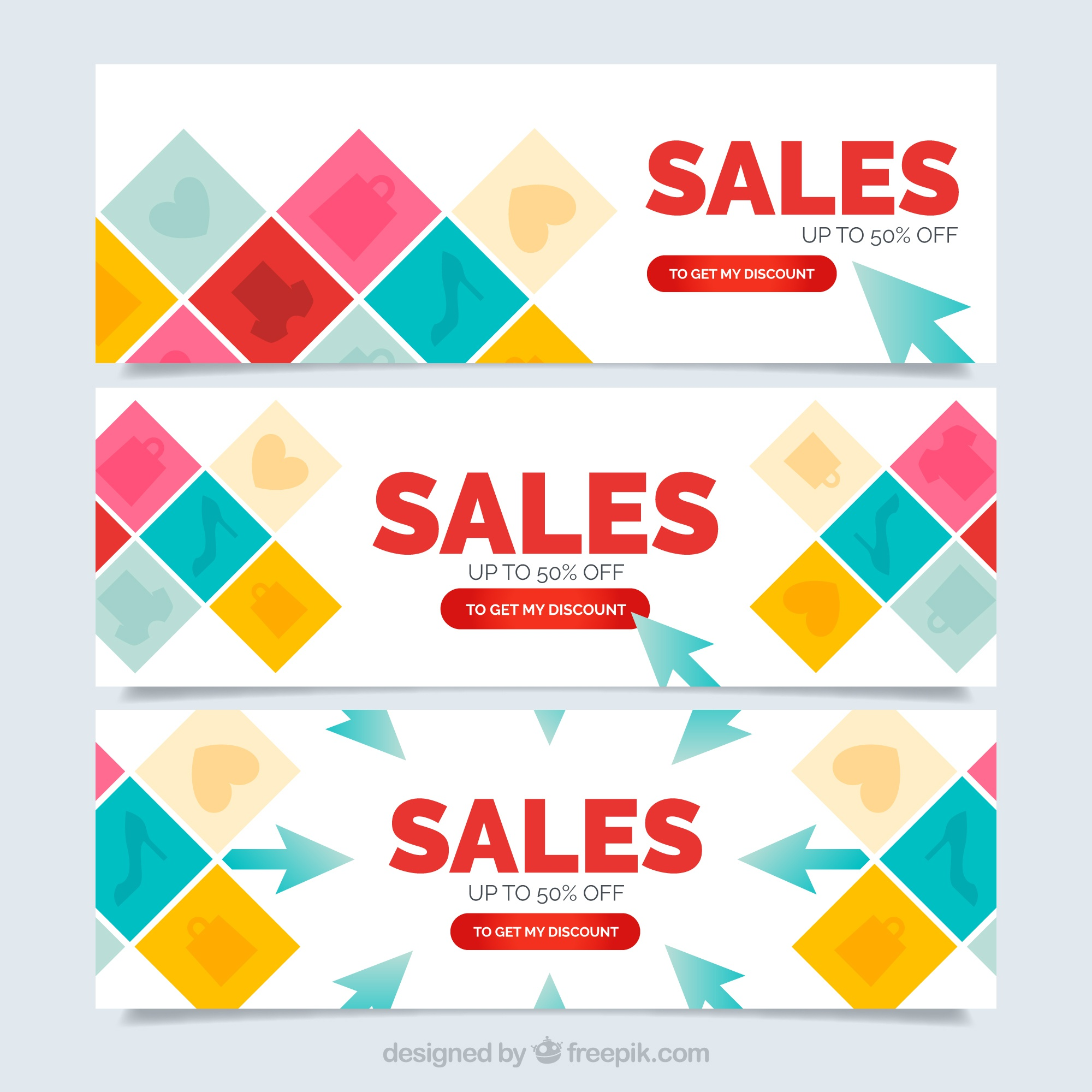 Colored squares sale banners