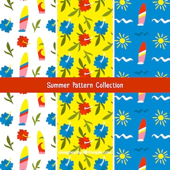 Colored summer patterns in hand-drawn style