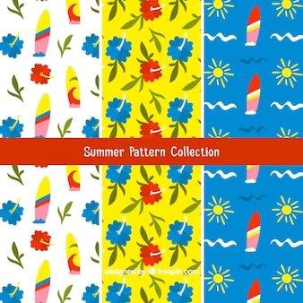 手描きのスタイルで色の夏のパターン