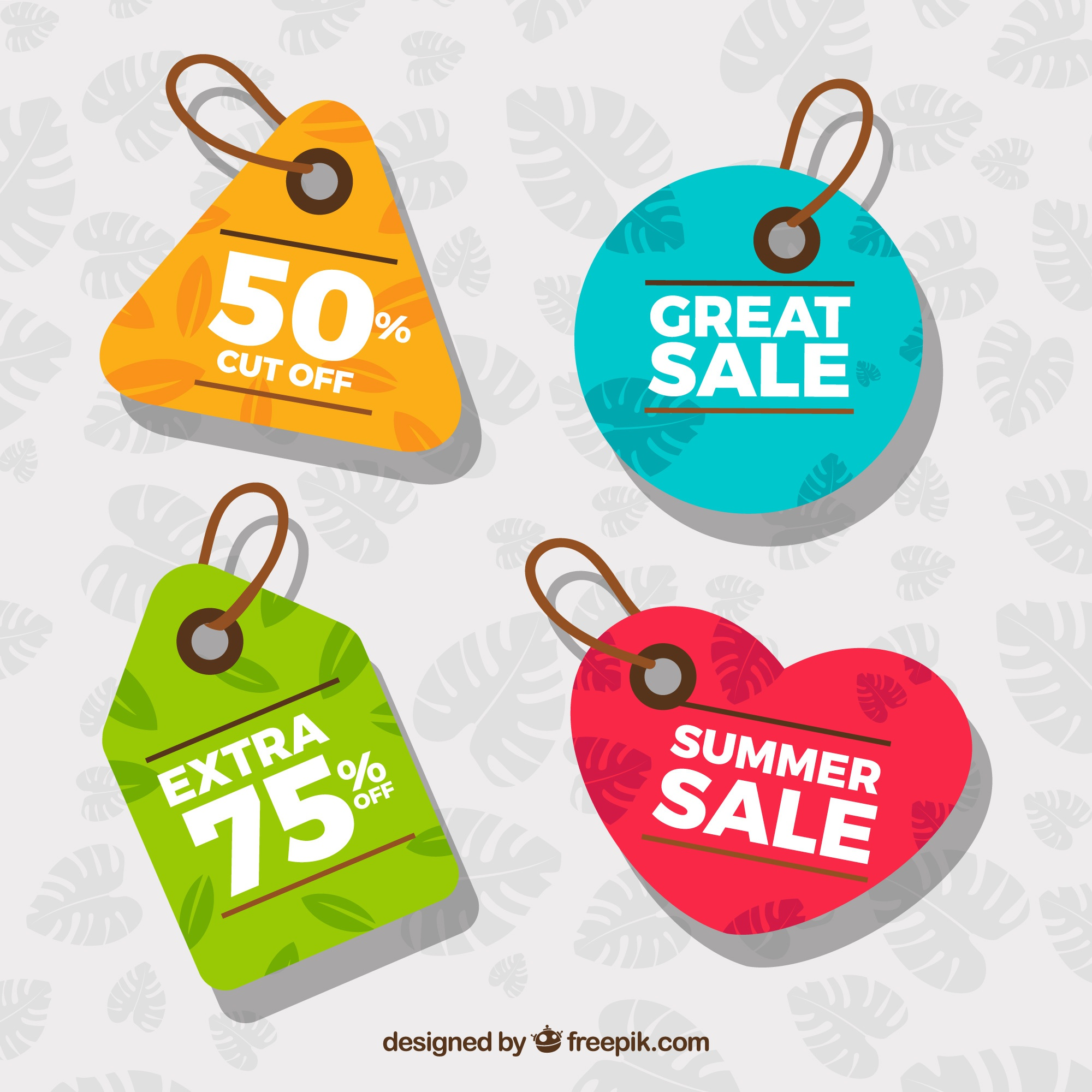 Colored tags with summer sales