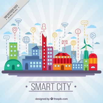 Colored technological city in flat design background