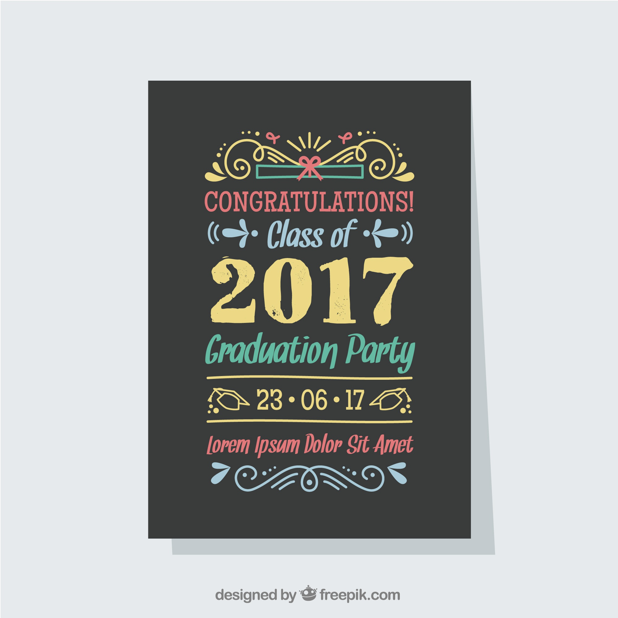 Colored template of graduation party poster