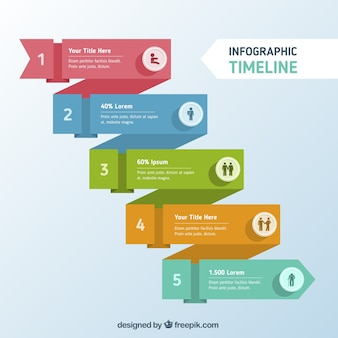 Colored timeline in flat design