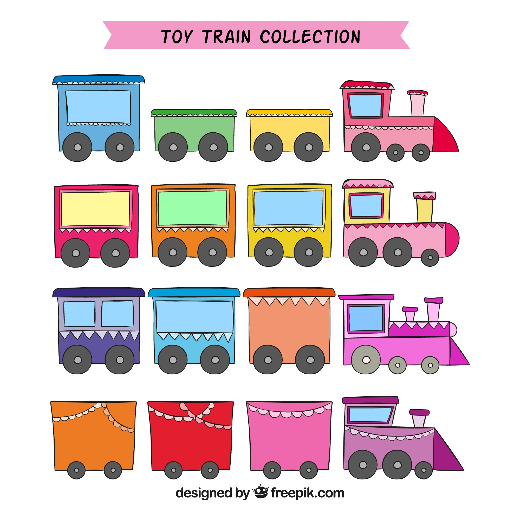 Colored toy trains in hand-drawn style