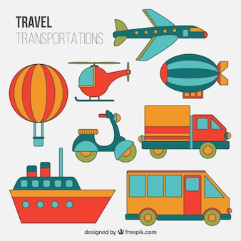 Colored travel transportation