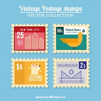 Colored vintage postal service stamps