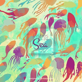 Colored watercolor background with fishes and jellyfishes background