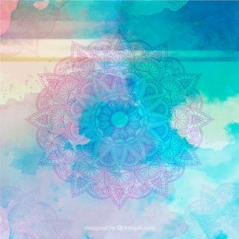 Colored watercolor hand drawn mandala background