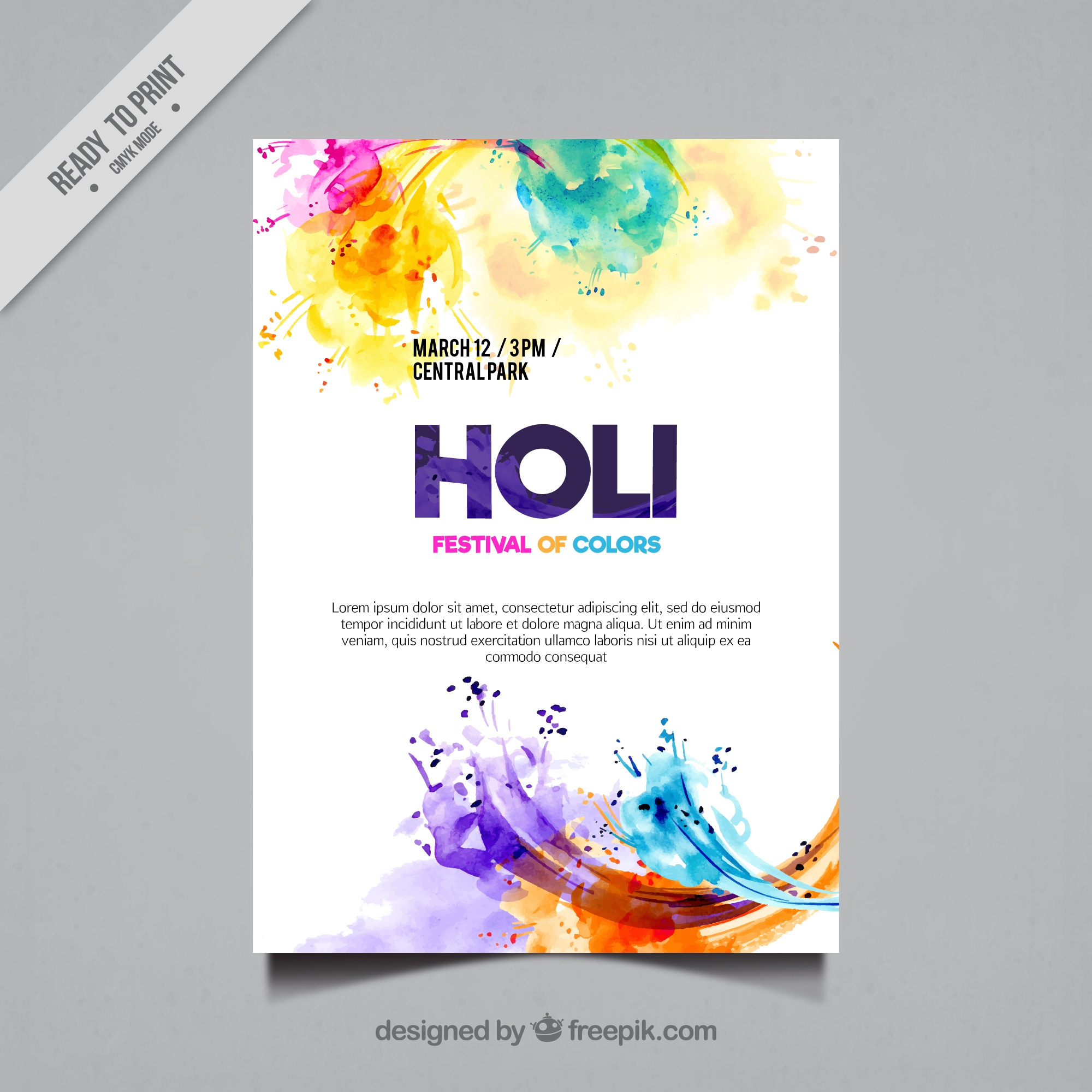 Colored watercolor stains holi flyer