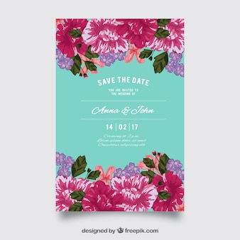 Colored wedding invitation with beautiful flowers