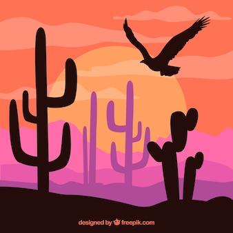 植生や鷲のシルエットで着色西部の背景