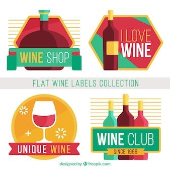 フラットデザインの色付きワインのステッカー