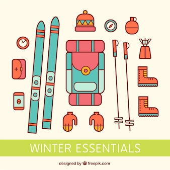 Colored winter essential icons