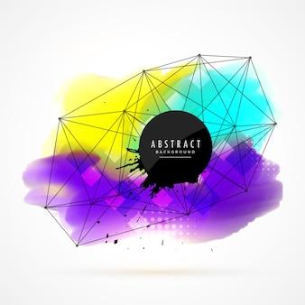 ネットワークワイヤメッシュデザインとカラフルな水彩染色の背景