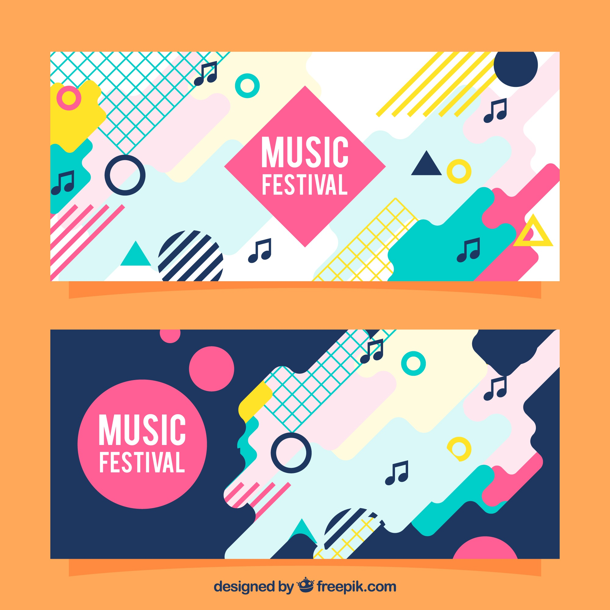 Colorful abstract banners in flat design