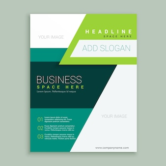 Colorful abstract brochure with green geometric shapes
