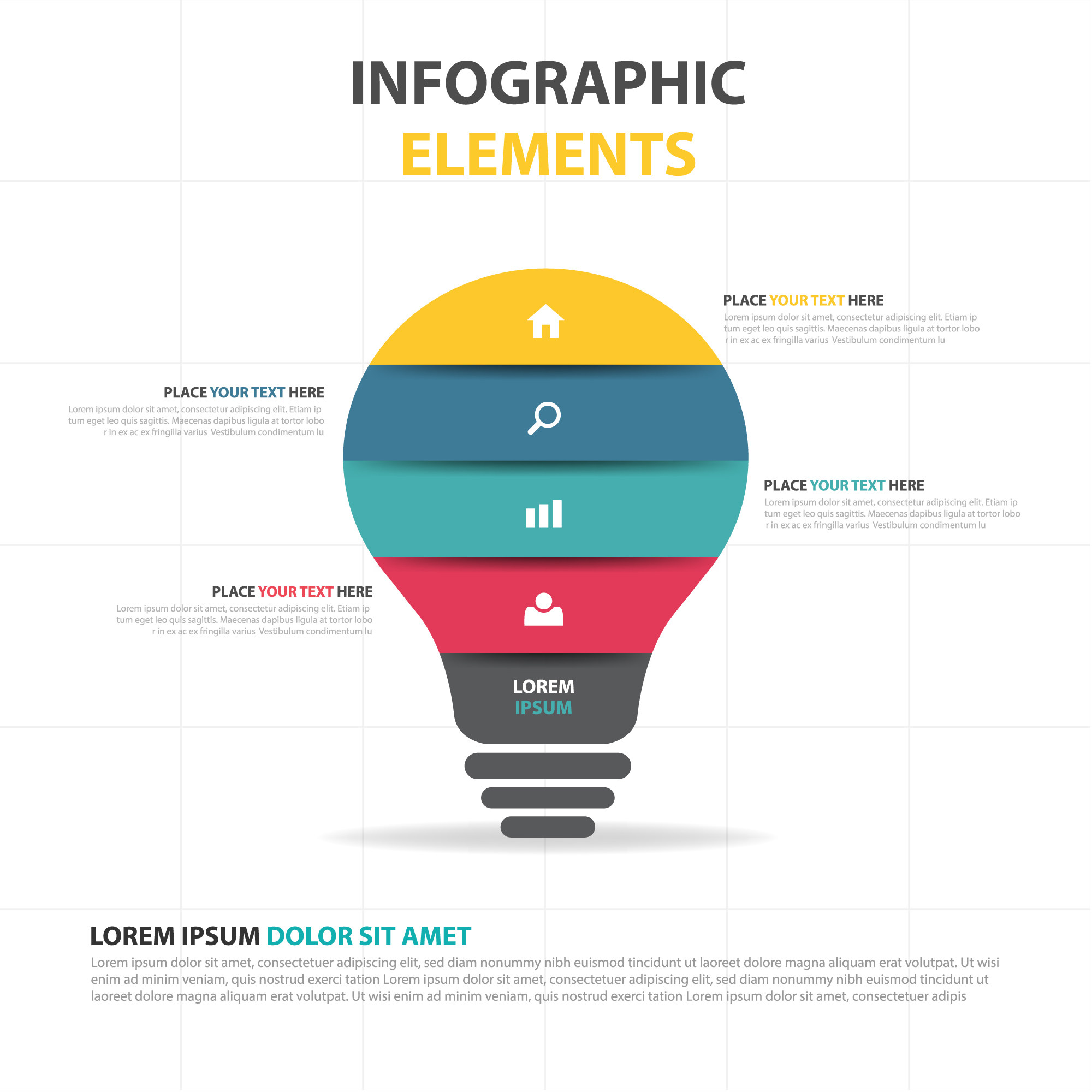 Colorful abstract lamp business infographic template