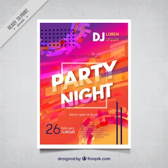 Colorful abstract night party poster